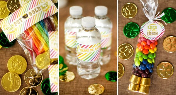 St. Patrick's Day rainbow printables - water bottle labels and favor tags