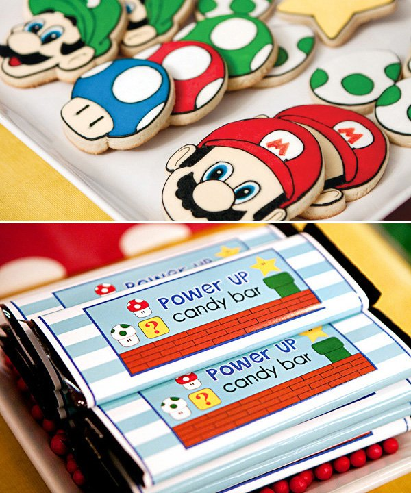super mario party sugar cookies and candy bars