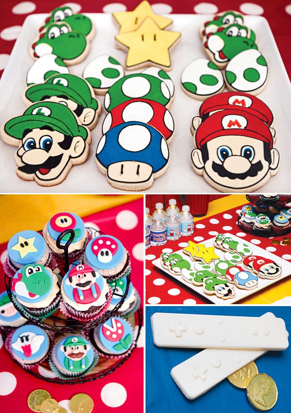 super mario party cookies and cupcakes