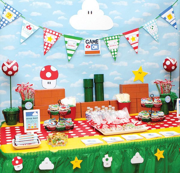 super mario party dessert table