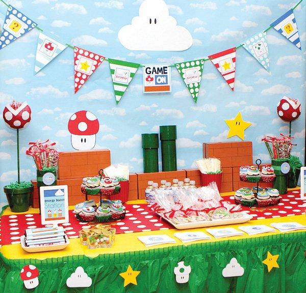 super mario party dessert table