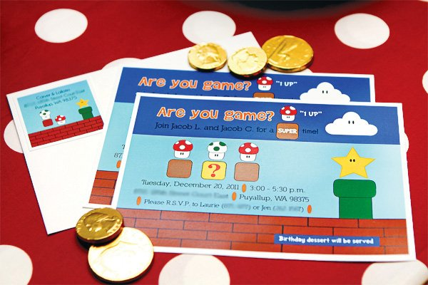 super mario brothers birthday party invitations