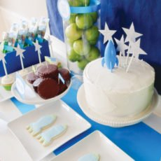 toy story space birthday party sweets table and rocket ship cookies