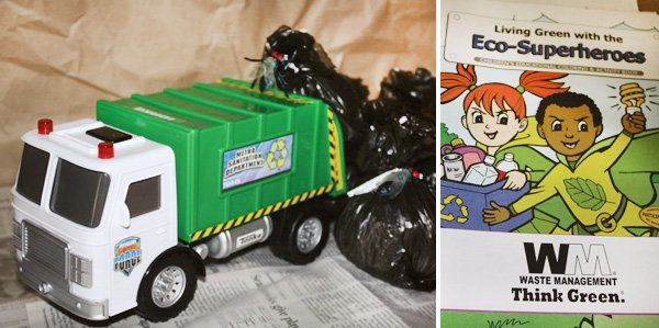 trash truck birthday party toy truck and coloring book from waste management