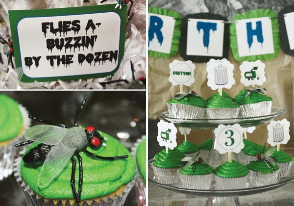 trash truck birthday party cupcake display with labels and fake flies as decoration