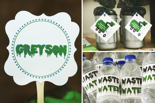 trash truck birthday party cupcake topper, party favors and water bottle labels