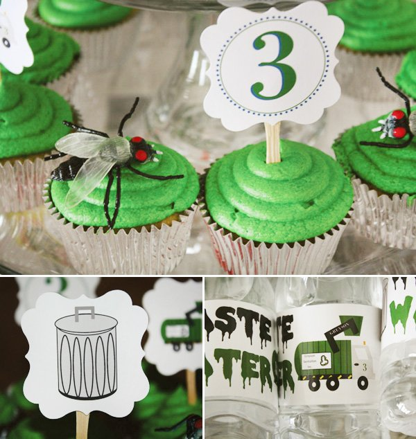trash truck birthday party cupcake toppers