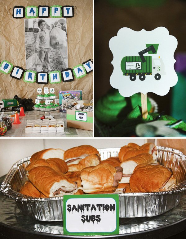 trash truck birthday party dessert table and cupcake toppers