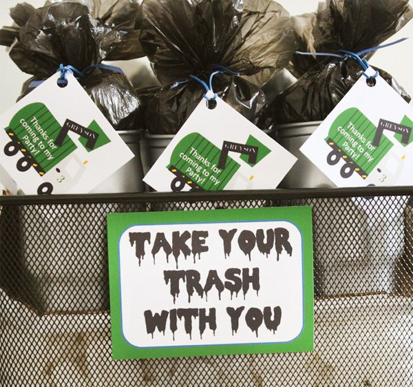 trash truck birthday party party favors