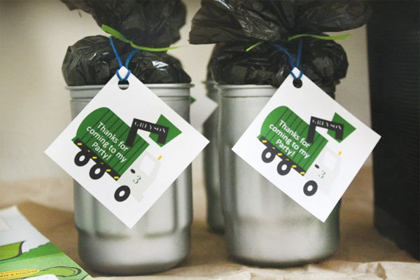 trash truck birthday party favors - mini trash cans