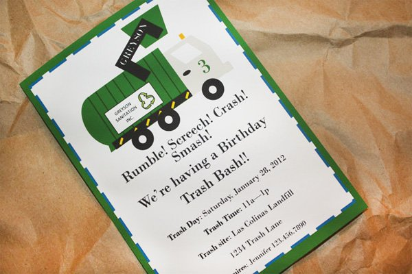 Clever 3rd birthday party trash bash hostess with the mostess trash truck birthday party invitation filmwisefo