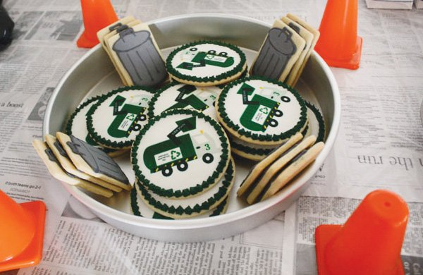 trash truck birthday party sugar cookies