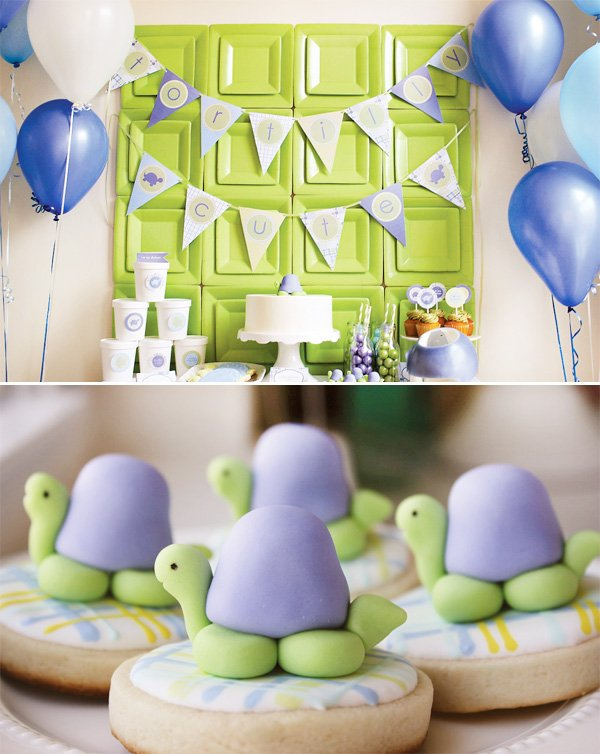 adorable turtle party dessert table and cookies