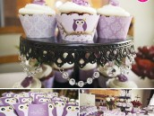 vintage lavender owl baby shower cupcakes, favors and dessert table