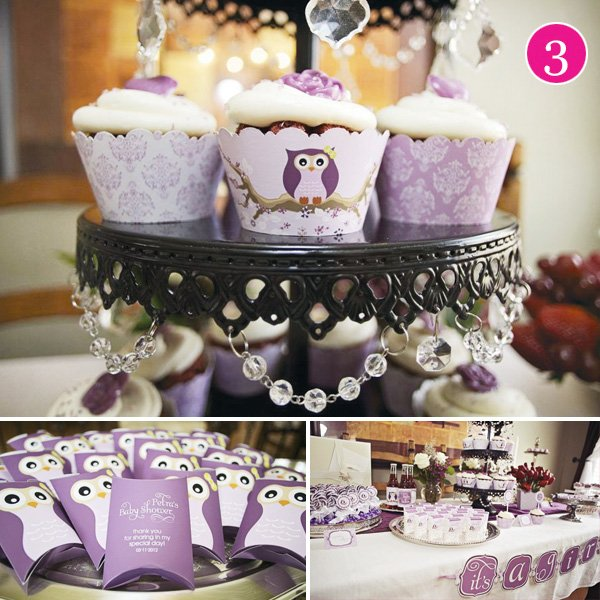 vintage lavender owl baby shower cupcakes favors and dessert table