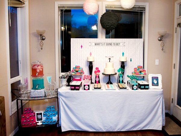 Baby Gender Reveal Dessert Table and Confetti Lanterns