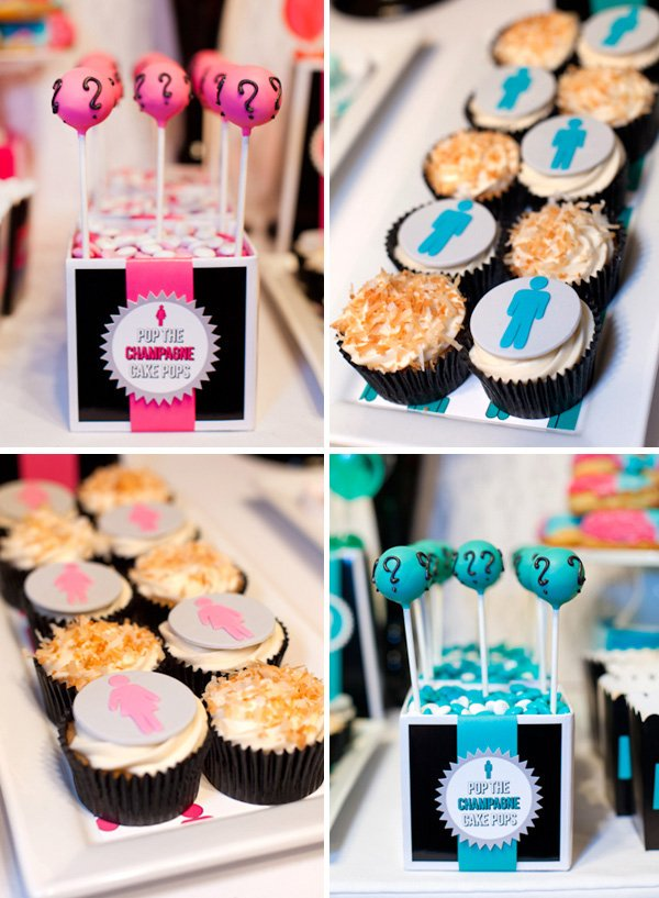 Pink and Blue Baby Gender Reveal Party Cake Pops and Cupcakes