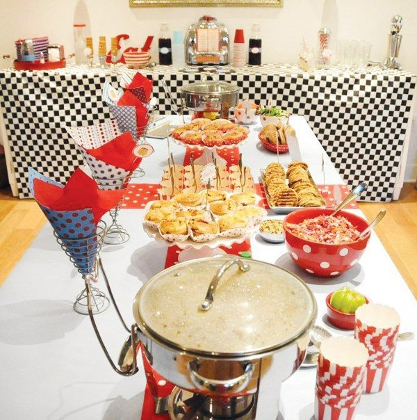 Adorable retro diner birthday party hostess with the for Decoration retro cuisine