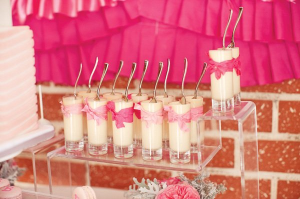 ribbons and ruffles baby shower pudding shots