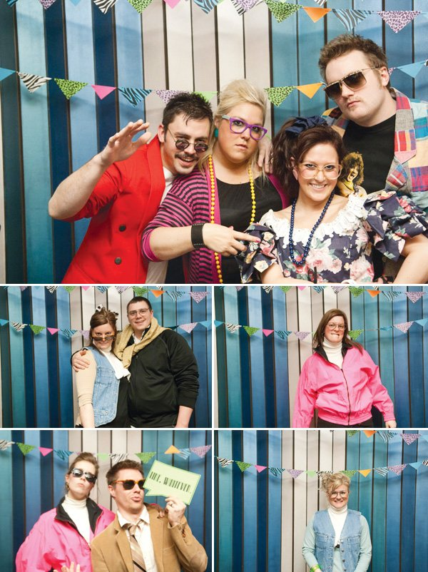 80s theme photo booth props and costumes