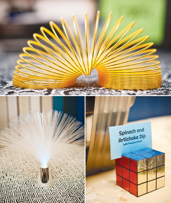 80s party decoration ideas with a slinky and rubix cube