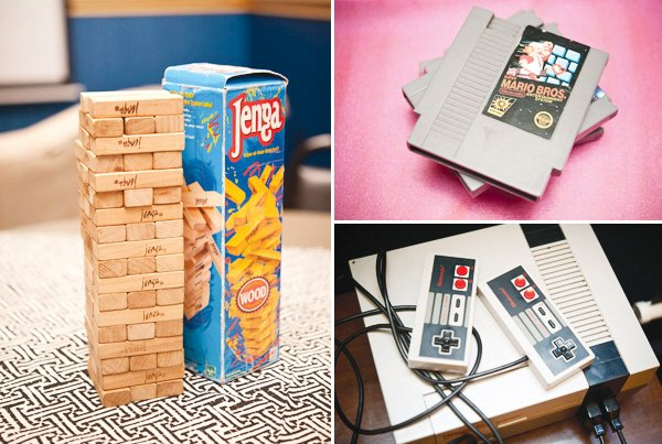 80s party games including jenga and nintendo