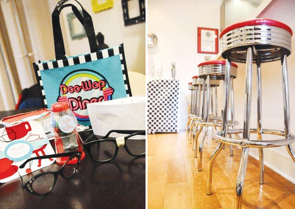 retro diner stools and retro birthday party favors