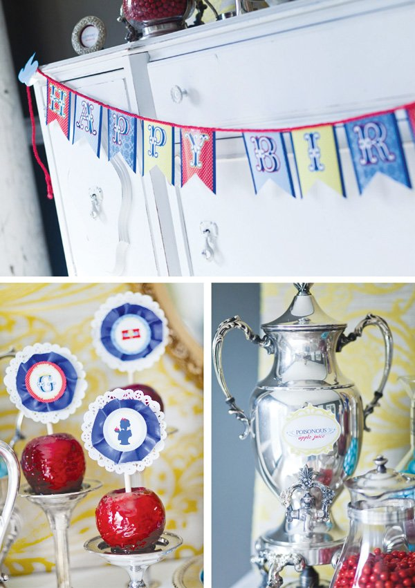 snow white fairy tale birthday party candied apple decorations