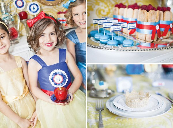 snow white fairy tale inspired birthday party desserts and table setting