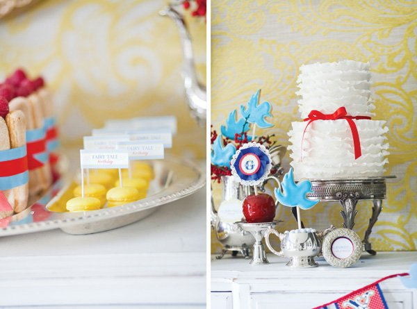 snow white fairy tale inspired birthday party with close up on yellow macaroons and white ruffled cake
