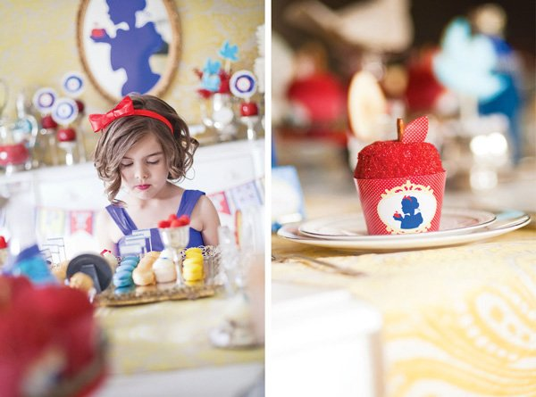snow white fairy tale birthday party red apple cupcake
