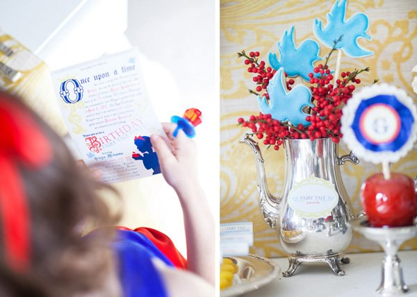snow white fairy tale birthday party invitations, ring pops, cookie display