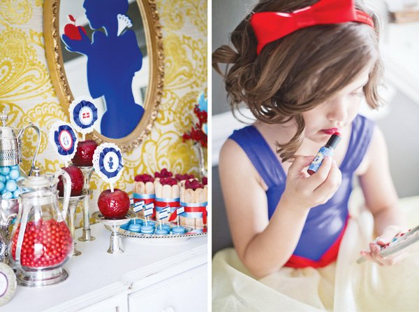 snow white fairy tale birthday party dessert table lipstick and costumes