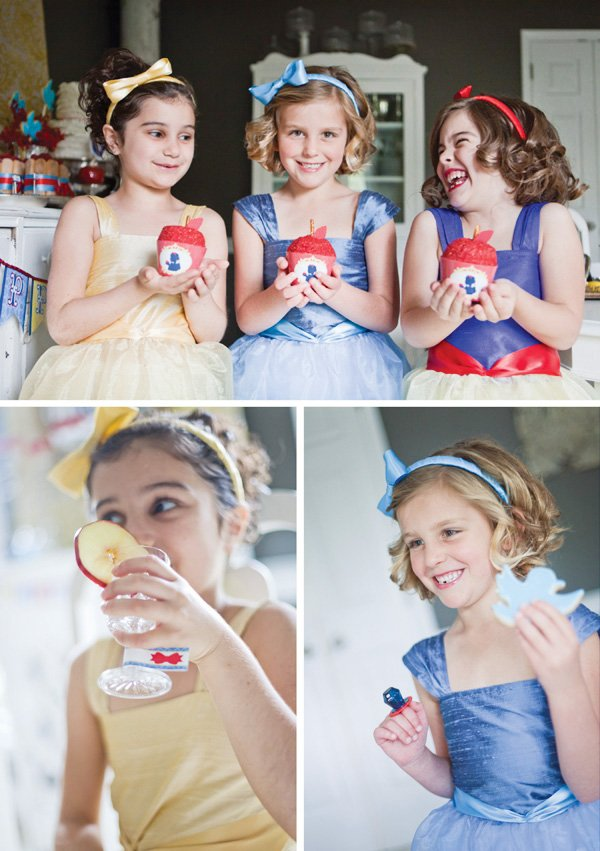 snow white fairy tale birthday party apple cupcakes and girls dressed up in costumes