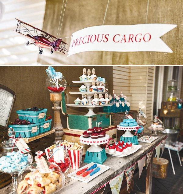 vintage travel baby shower dessert table