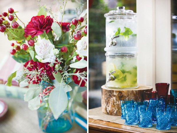 vintage travel baby shower florals and drinks