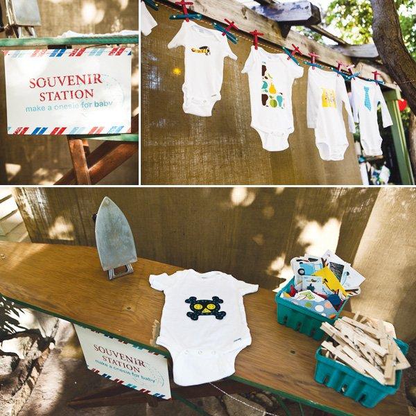 vintage travel baby shower souvenir onesie stations