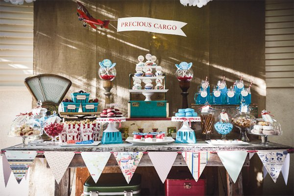 vintage travel baby shower sweets table