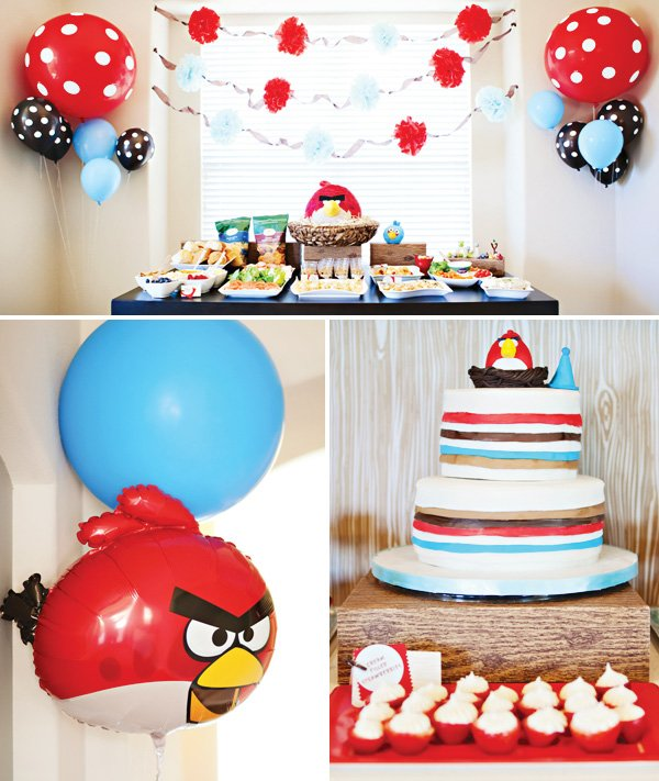 angry birds party balloons and cake
