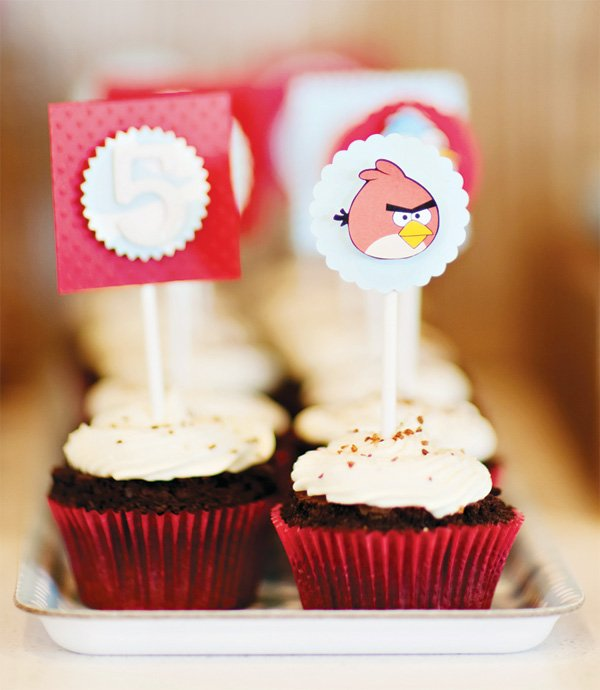 angry birds party cupcake toppers
