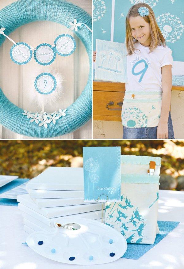 aqua dandelion birthday party art activity