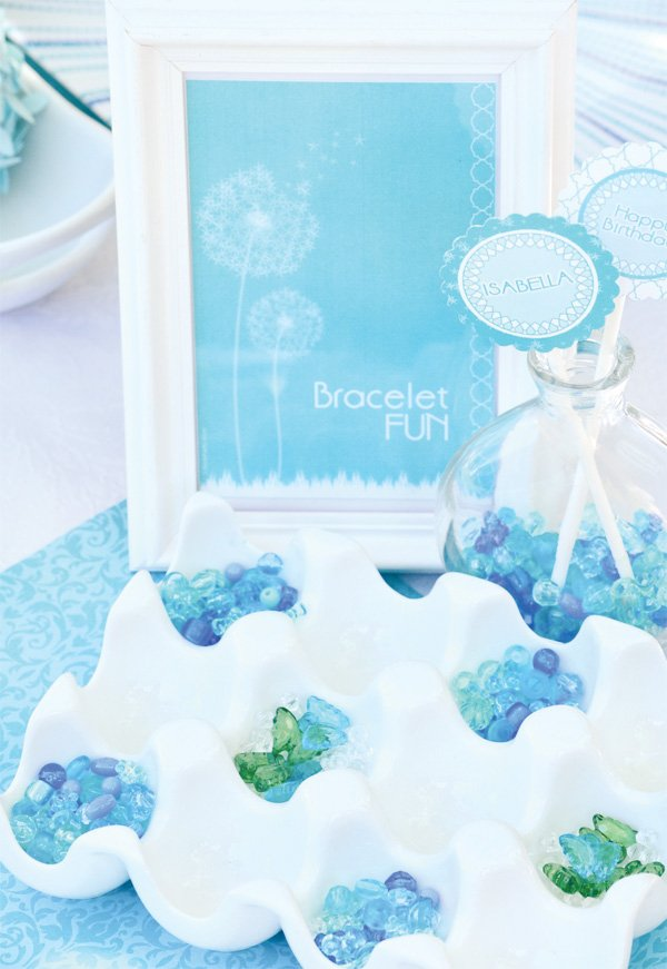 aqua dandelion birthday party bracelet craft activity