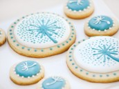 aqua dandelion birthday party cookies