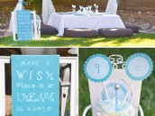 aqua dandelion birthday party decorations