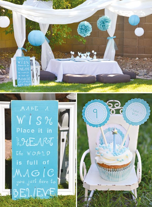 Modern dandelion birthday party make a wish hostess for Wish decoration