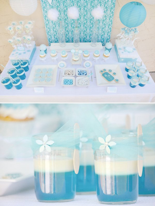 aqua dandelion birthday party dessert table