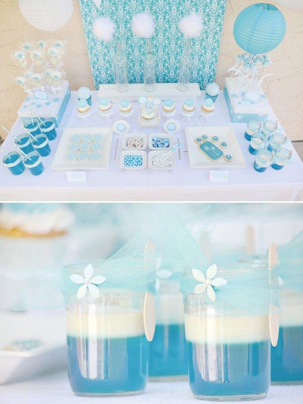 aqua dandelion birthday party dessert table