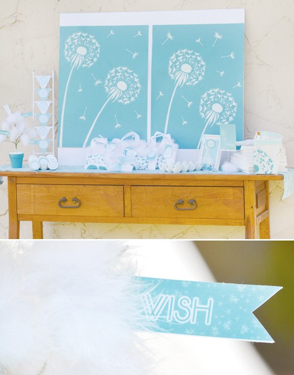 aqua dandelion birthday party favor table