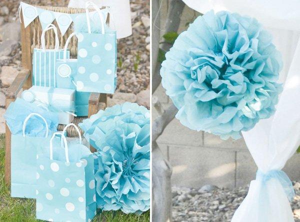 aqua dandelion birthday party gift wrap