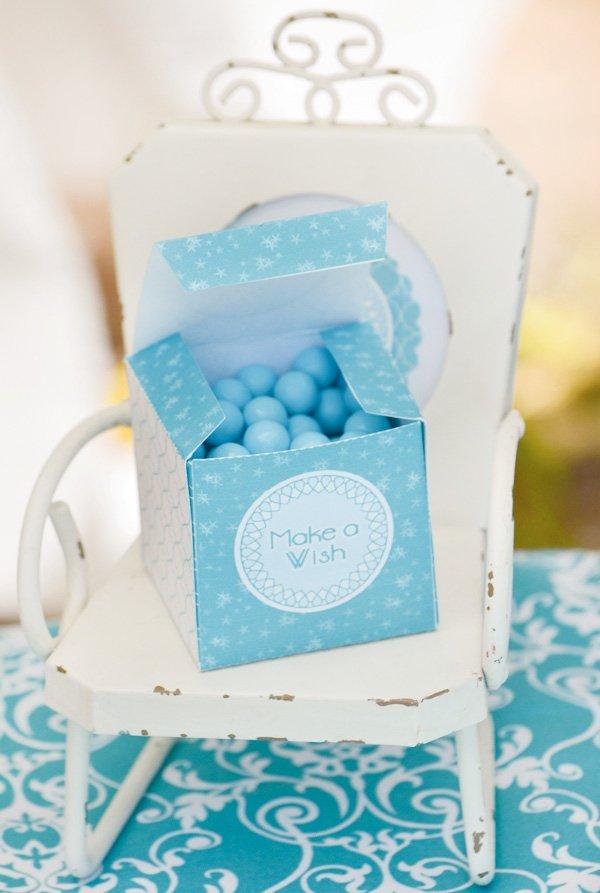 aqua dandelion birthday party make a wish candy in a box